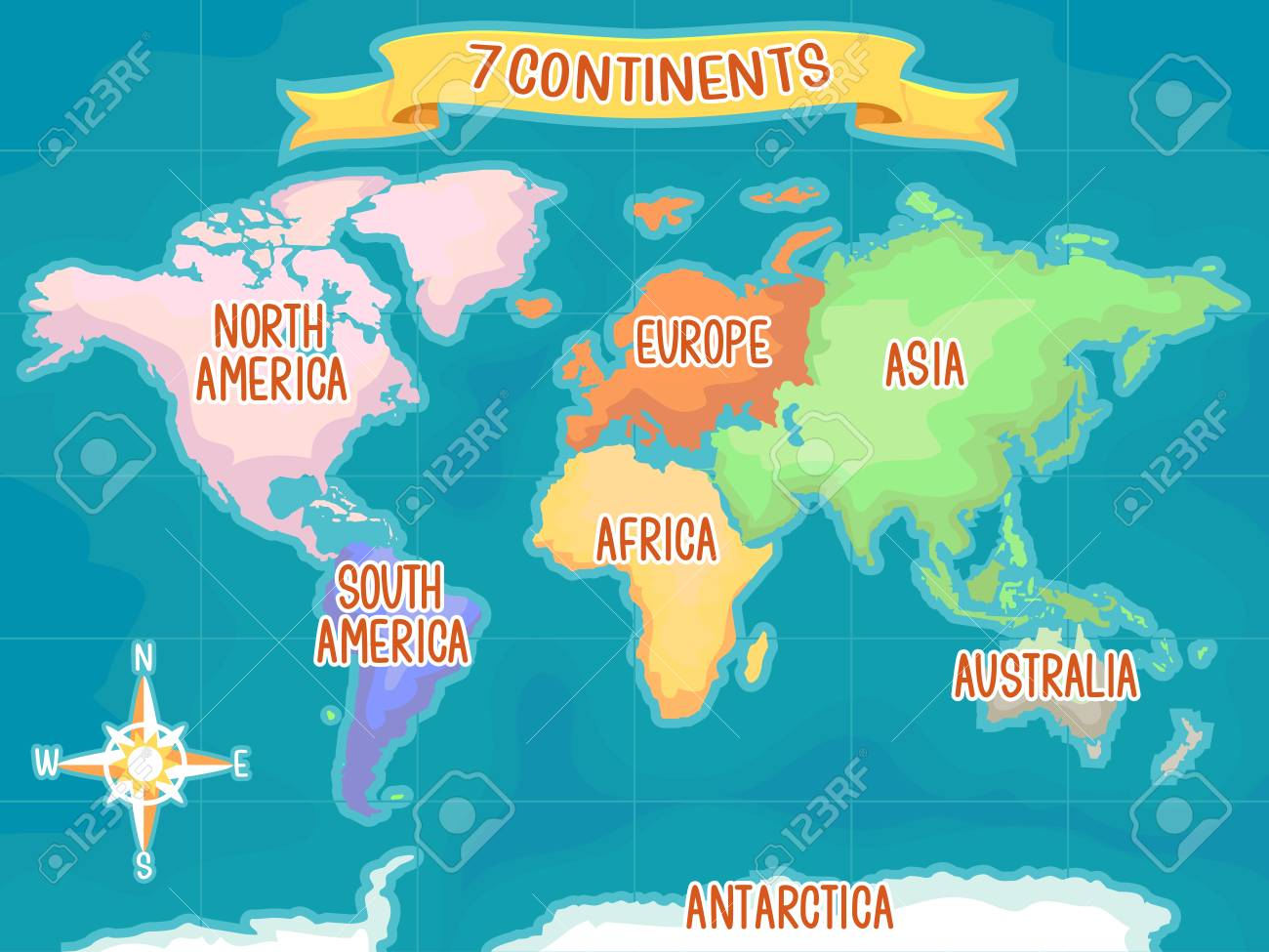 Colorful illustration featuring a world map highlighting the stock colorful illustration featuring a world map highlighting the seven continents stock illustration 91256625 gumiabroncs Choice Image