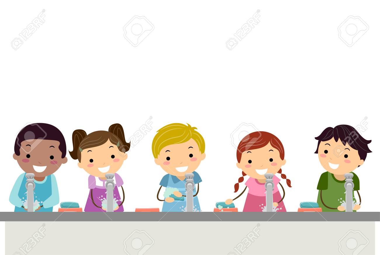Illustration of Stickman Kids In Front of Running Water from Faucet Washing their Hands with Soap - 93242216