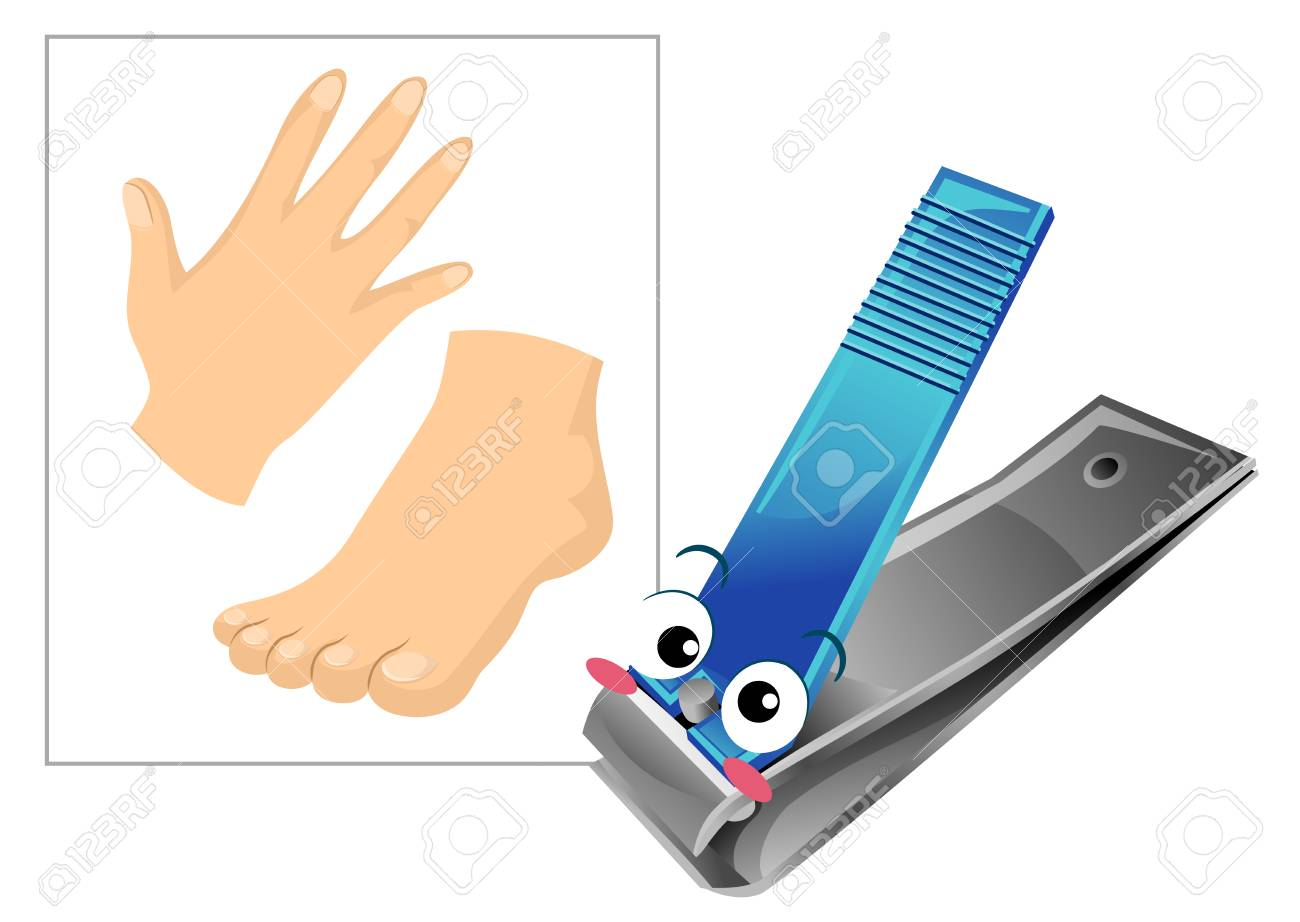 Illustration Of A Nail Clipper Mascot With A Hand And Feet For ...