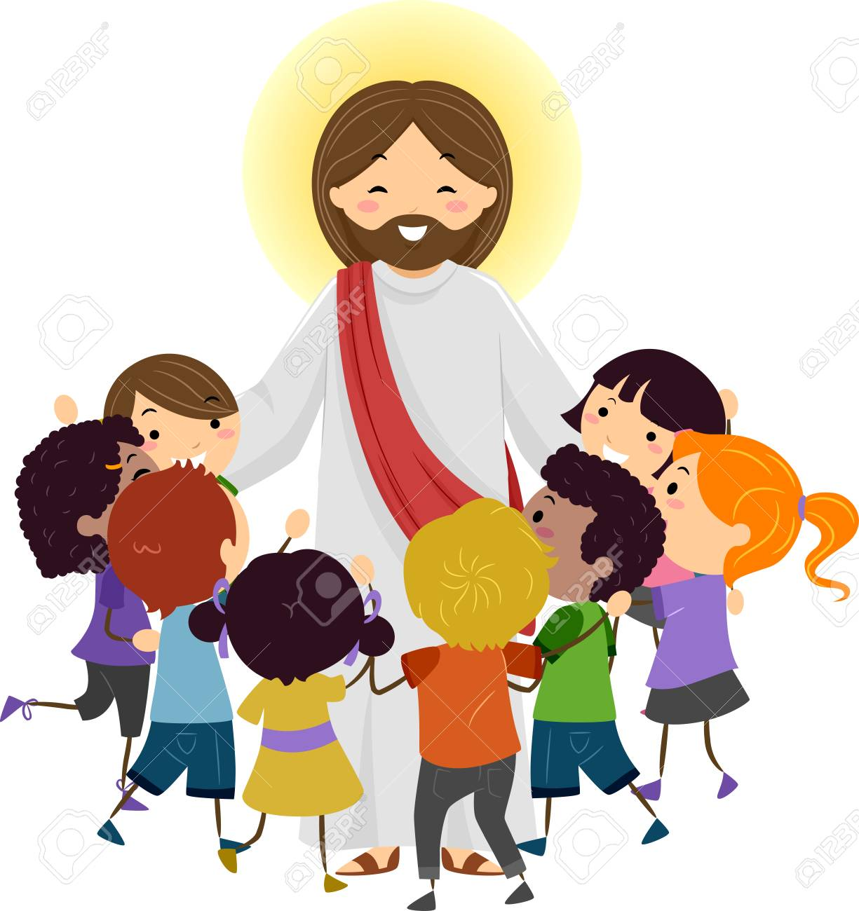 illustration of jesus christ being surrounded by stickman kids stock rh 123rf com