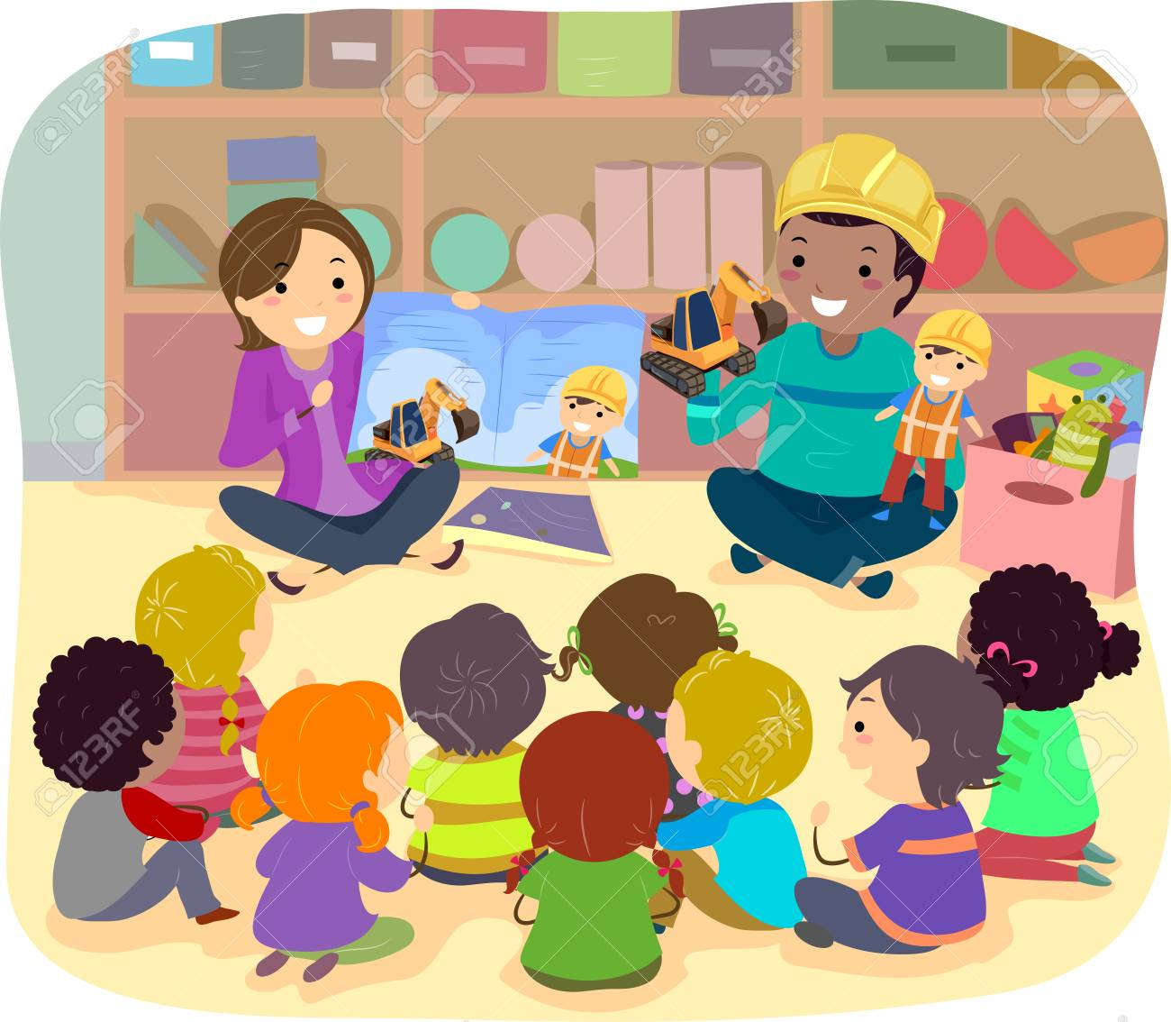 illustration of stickman kids listening to a construction story
