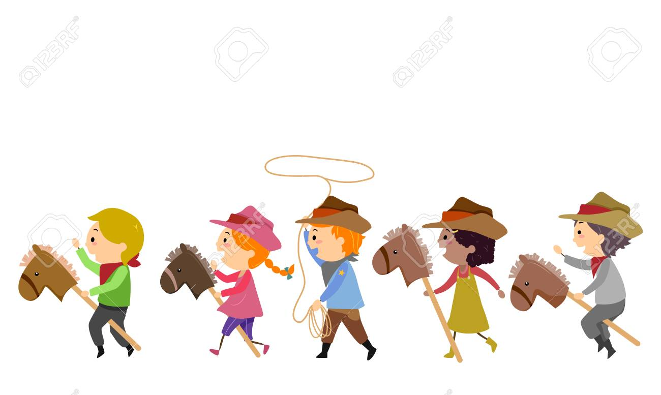 Illustration Of Stickman Kids Cowboy Riding Toy Horse And Spinning Stock Photo Picture And Royalty Free Image Image 94601548