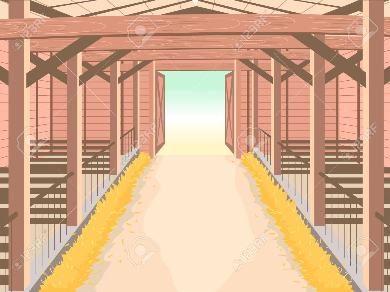 Illustration Of Inside A Barn For Farm Animals Like Cows Or Horses