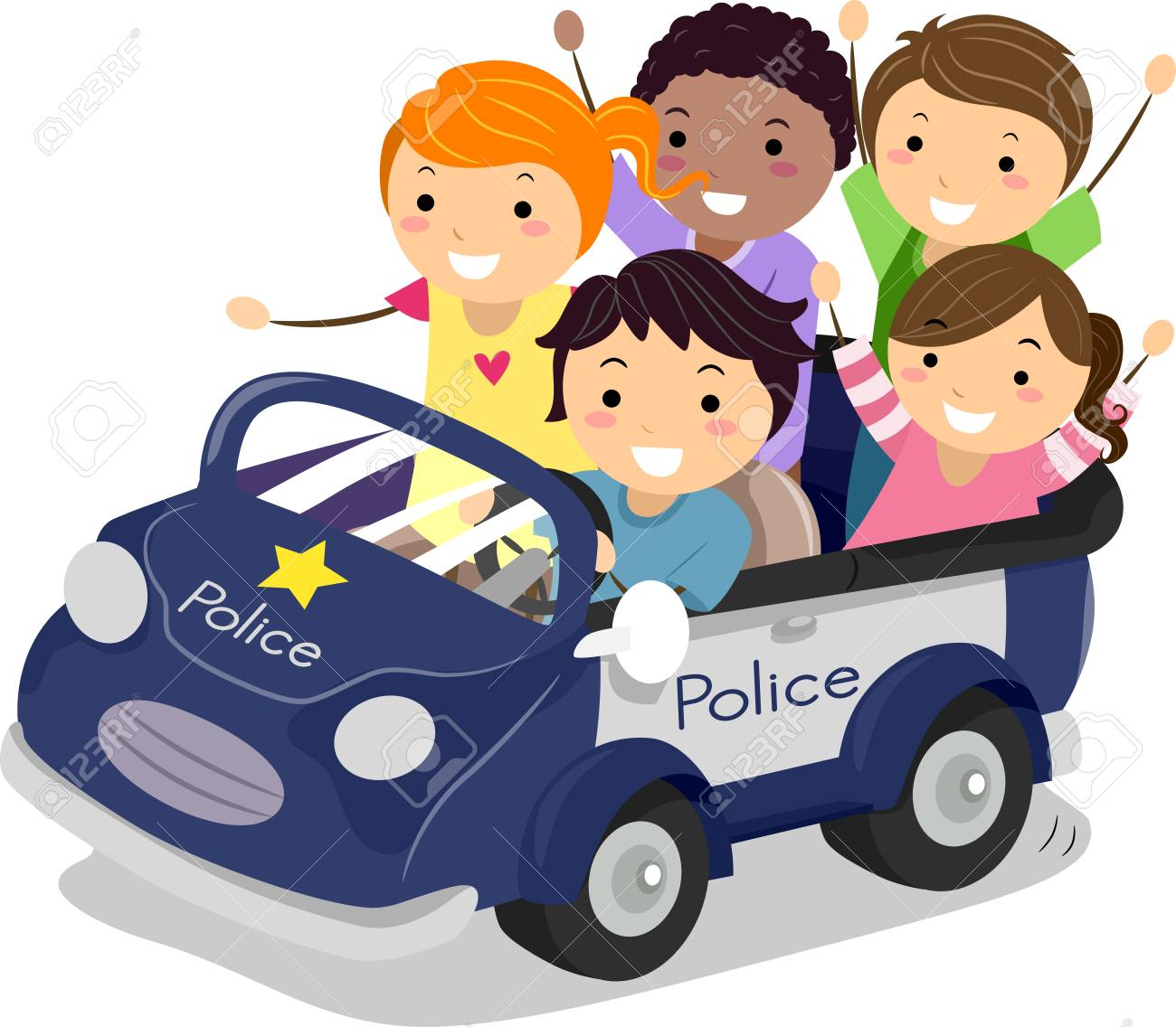 Illustration Of Stickman Kids Playing Cop Riding A Police Car Stock