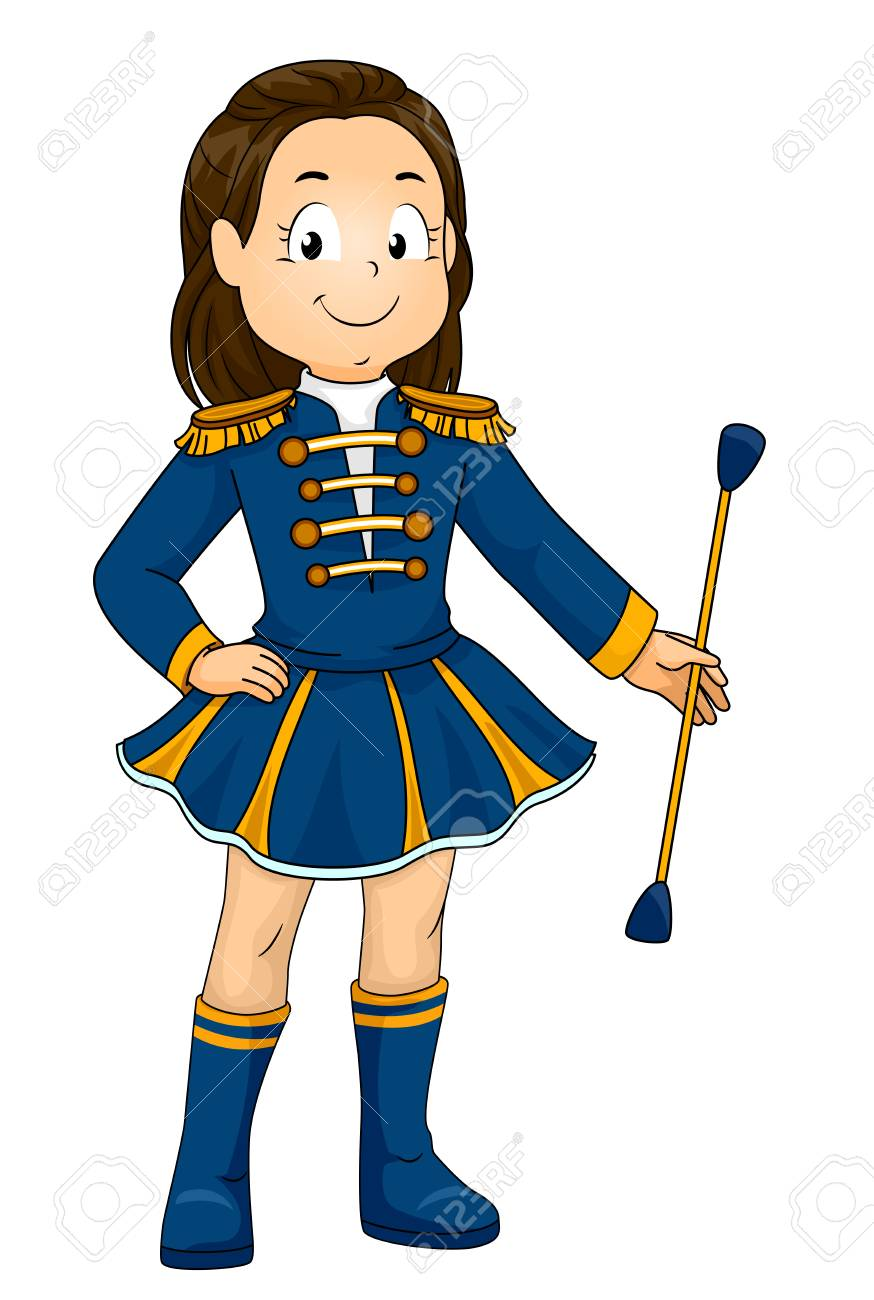 illustration of a kid girl in uniform holding a baton stock photo rh 123rf com majorette clipart