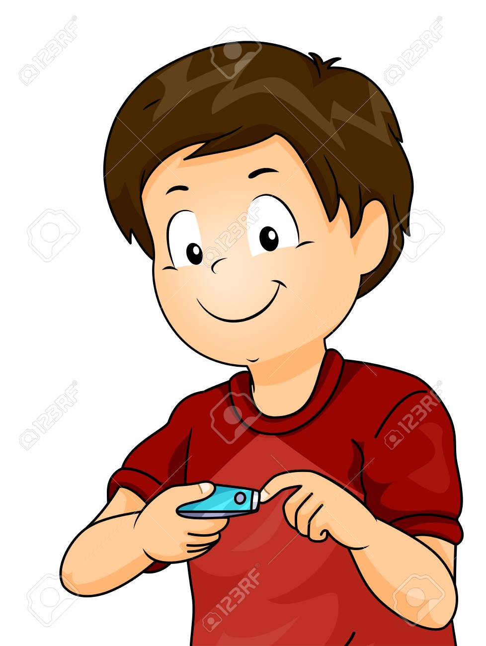 Illustration Of A Kid Boy Using Nail Cutter Clipping His Fingernails