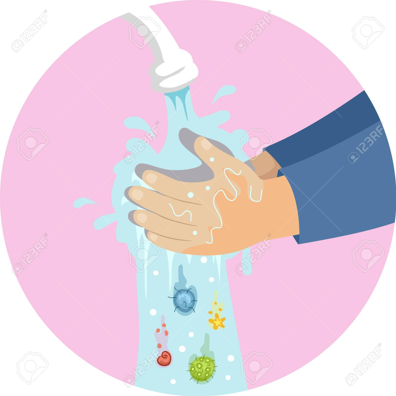 Illustration of a Kid Hands Washing Hands Under Faucet with Germs Falling Down - 103370097