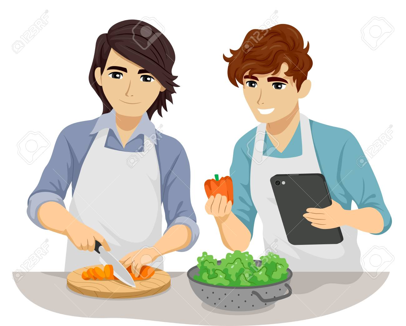 Illustration - Illustration of Teen Gay Couple Cooking Following Recipe in  Tablet Computer