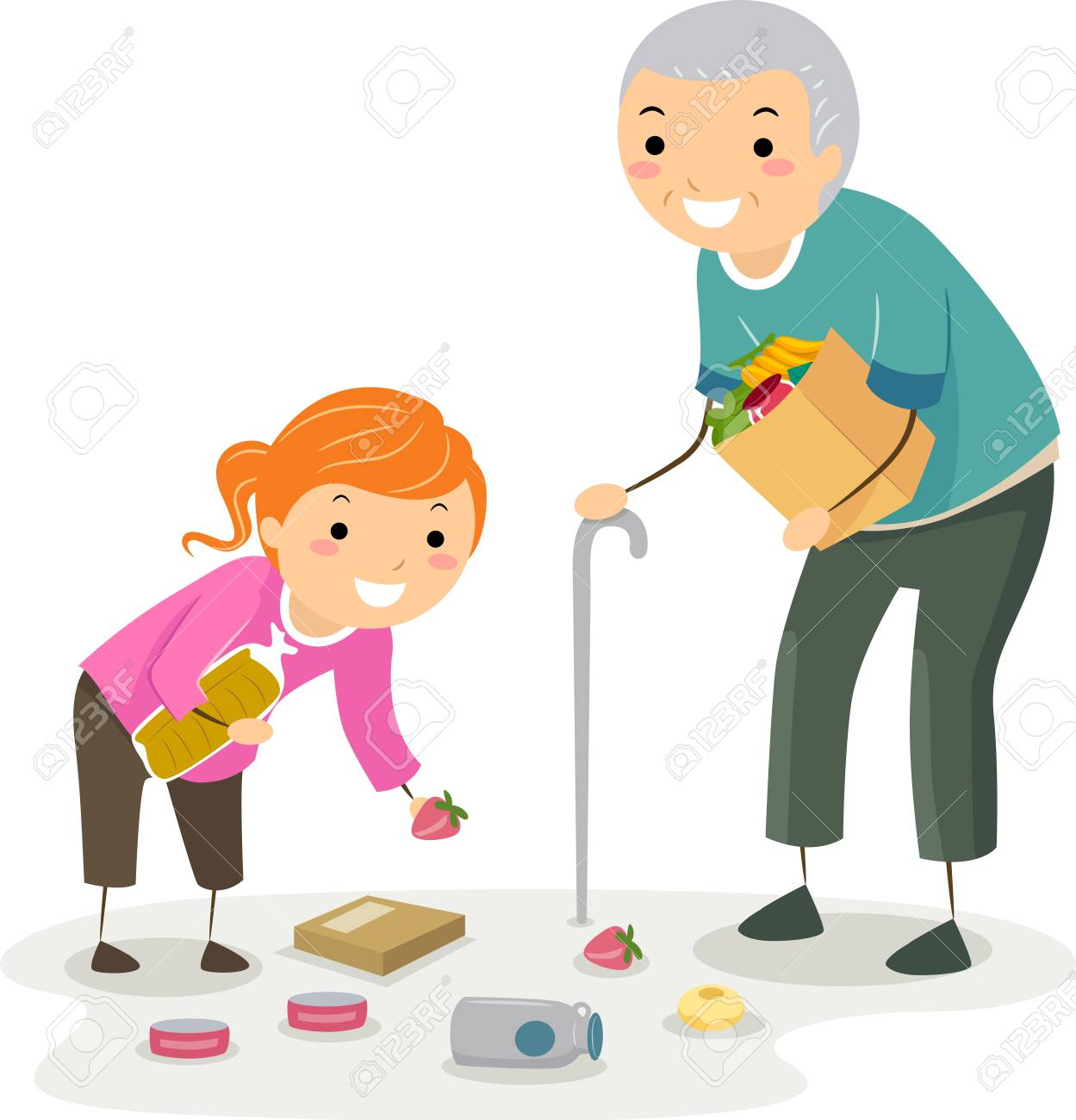 Illustration of a Stickman Kid Girl Helping a Senior Man Pick Up Fallen Grocery Items - 103446898