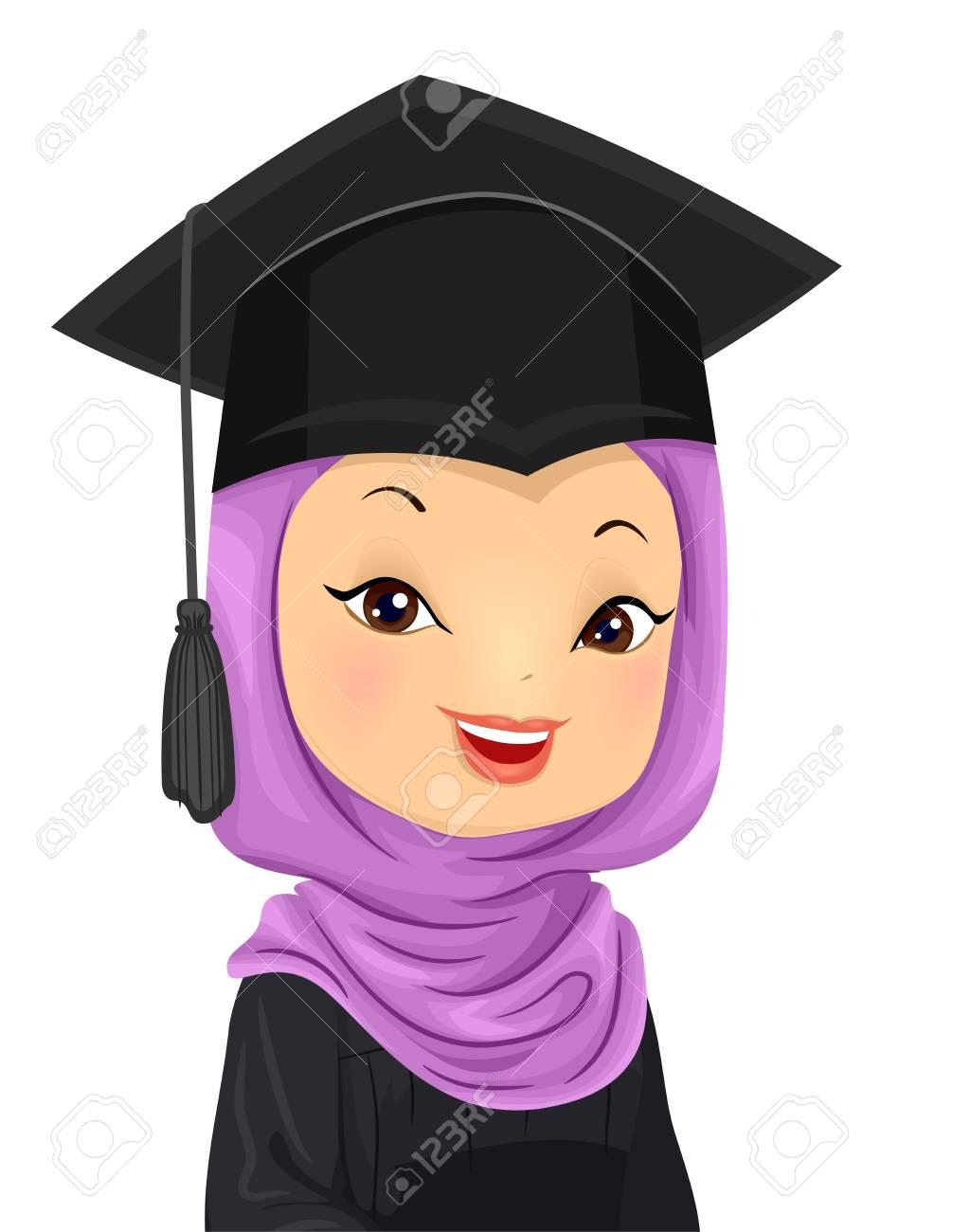 5221377e09b Illustration Of A Graduating Muslim Girl Wearing A Hijab And Stock
