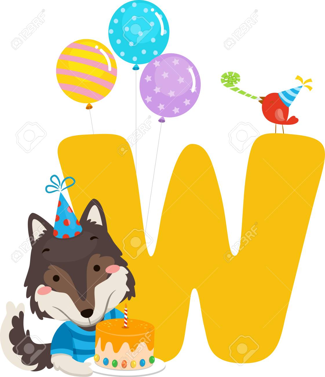 Illustration Of A Wolf Holding Birthday Cake With Balloons And Letter W Standard Bild