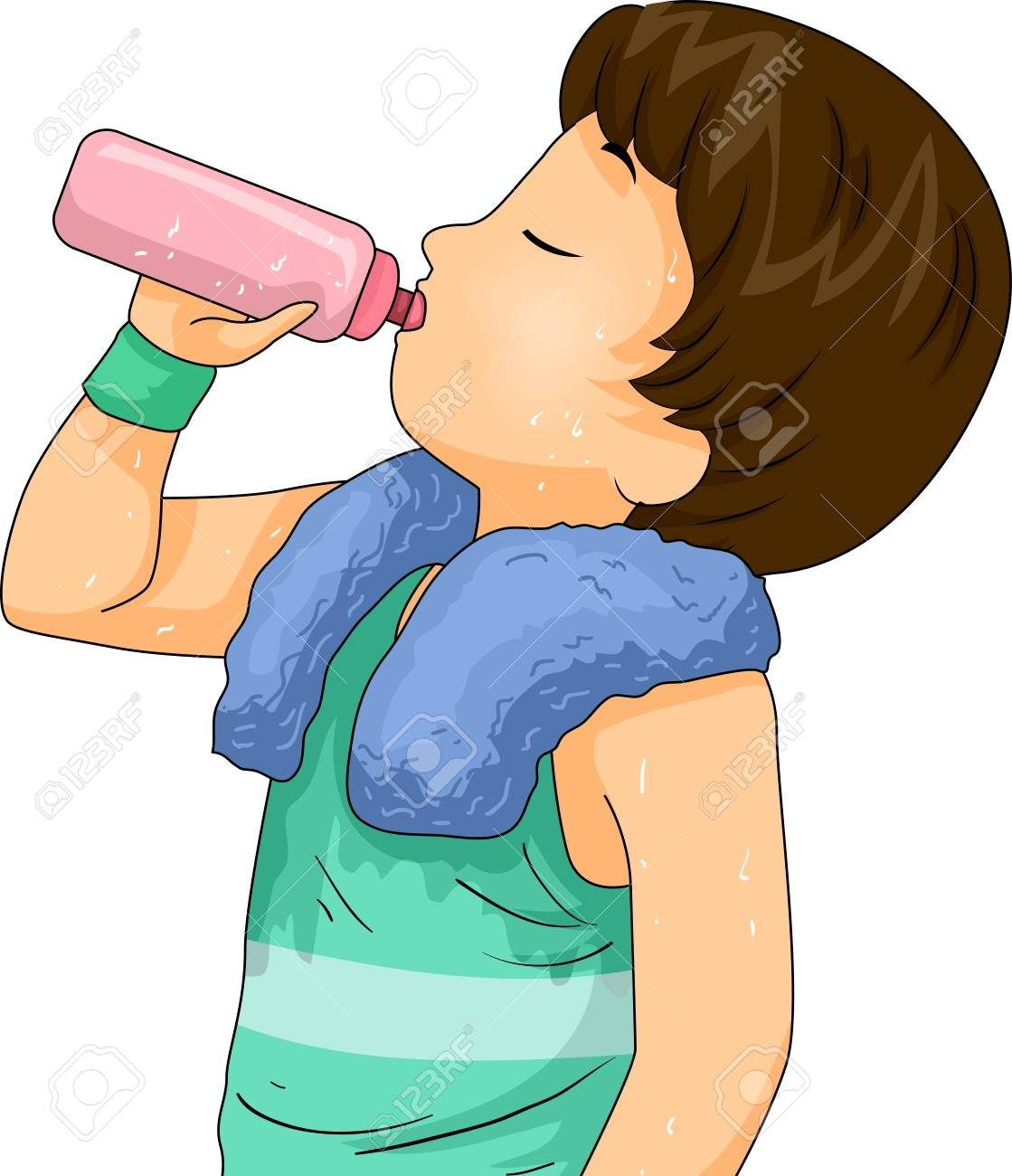 Illustration Of A Kid Boy Drinking Water From Water Bottle After Stock Photo Picture And Royalty Free Image Image 114855034