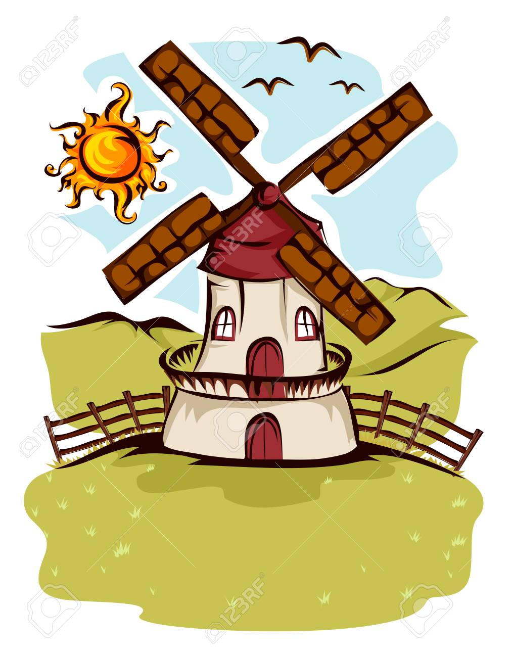 Illustration Of A Farm Windmill In The Fields Under The Sun Stock Photo Picture And Royalty Free Image Image 118586213