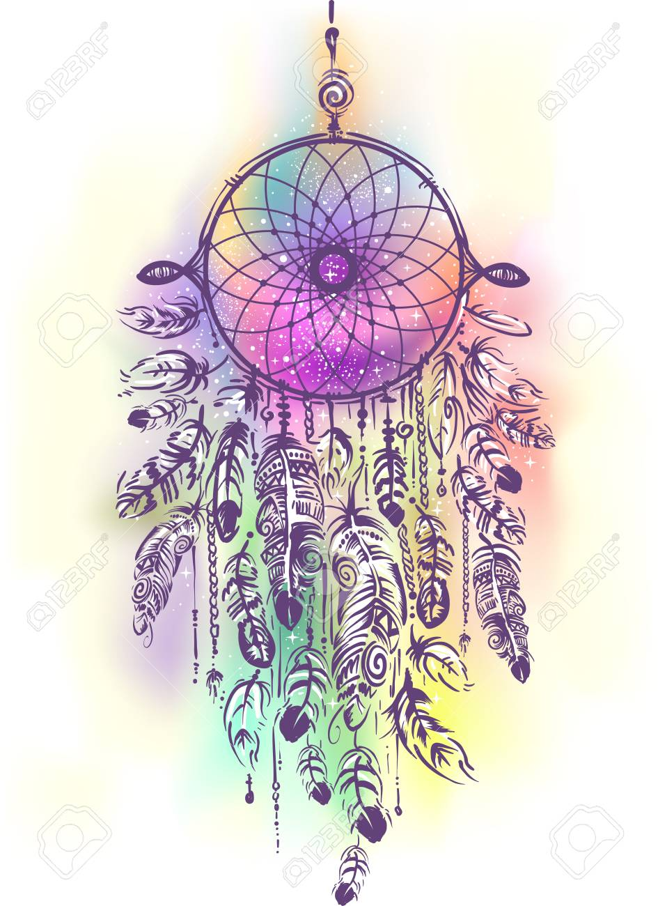 - Illustration Of A Boho Dream Catcher With Lots Of Feathers And