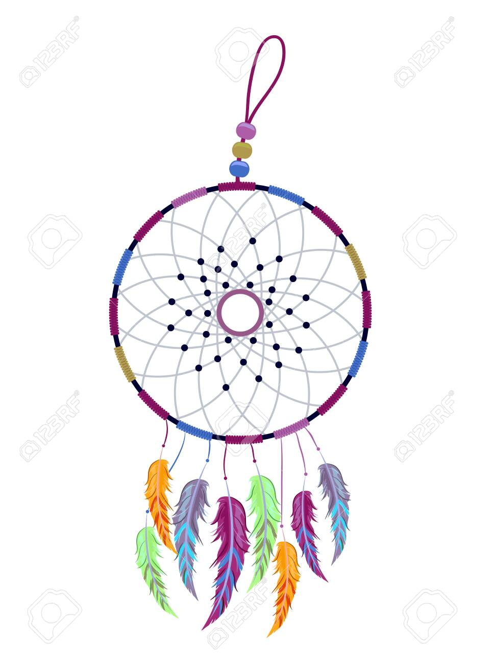 - Illustration Of A Dream Catcher In Different Colors With Beads