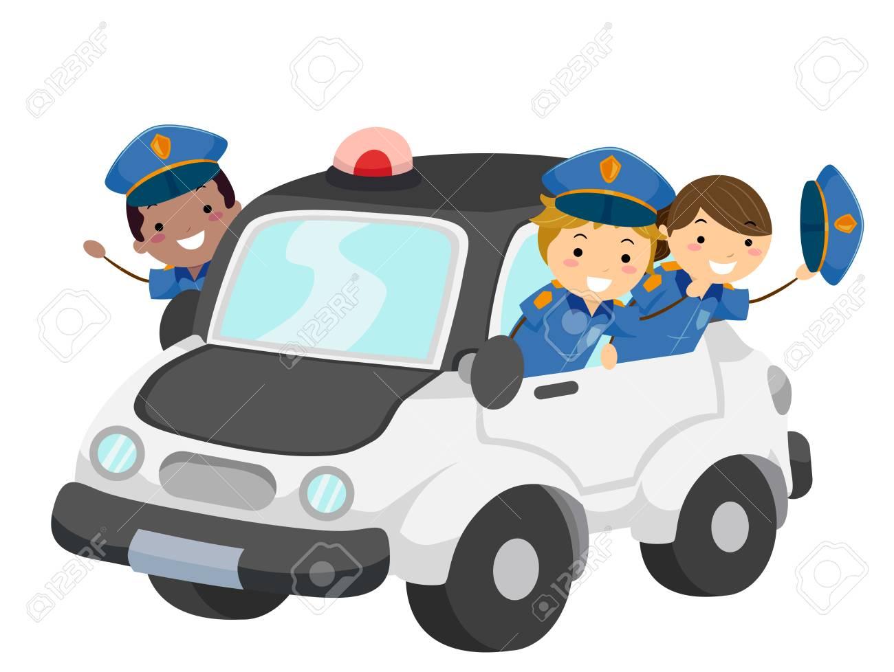 Illustration Of Stickman Kids Wearing Police Uniform Riding A