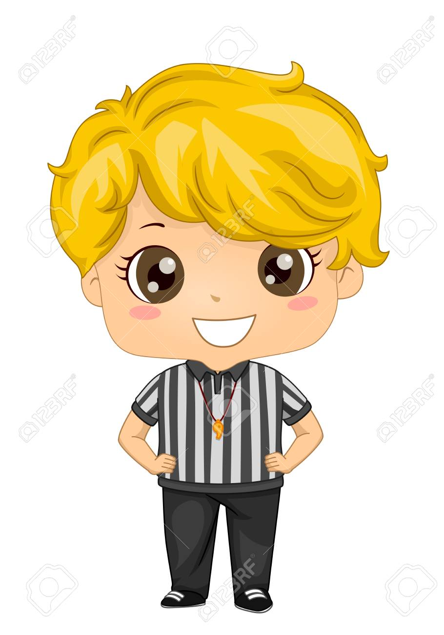 Illustration of a Kid Boy Referee with Whistle and Hands on Waist - 120522038