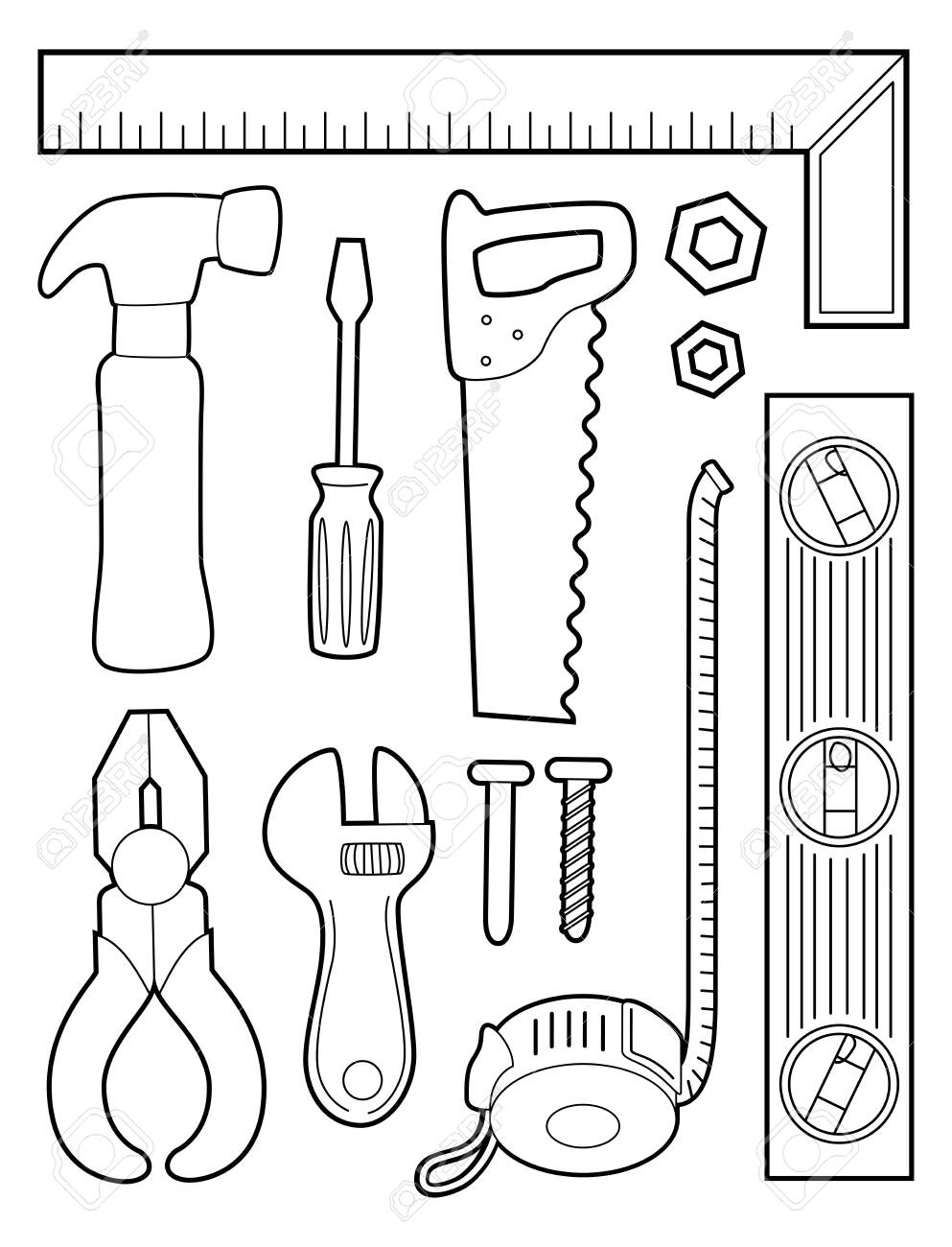 Illustration Of A Coloring Page Of Different Construction Tools Stock Photo Picture And Royalty Free Image Image 130760367