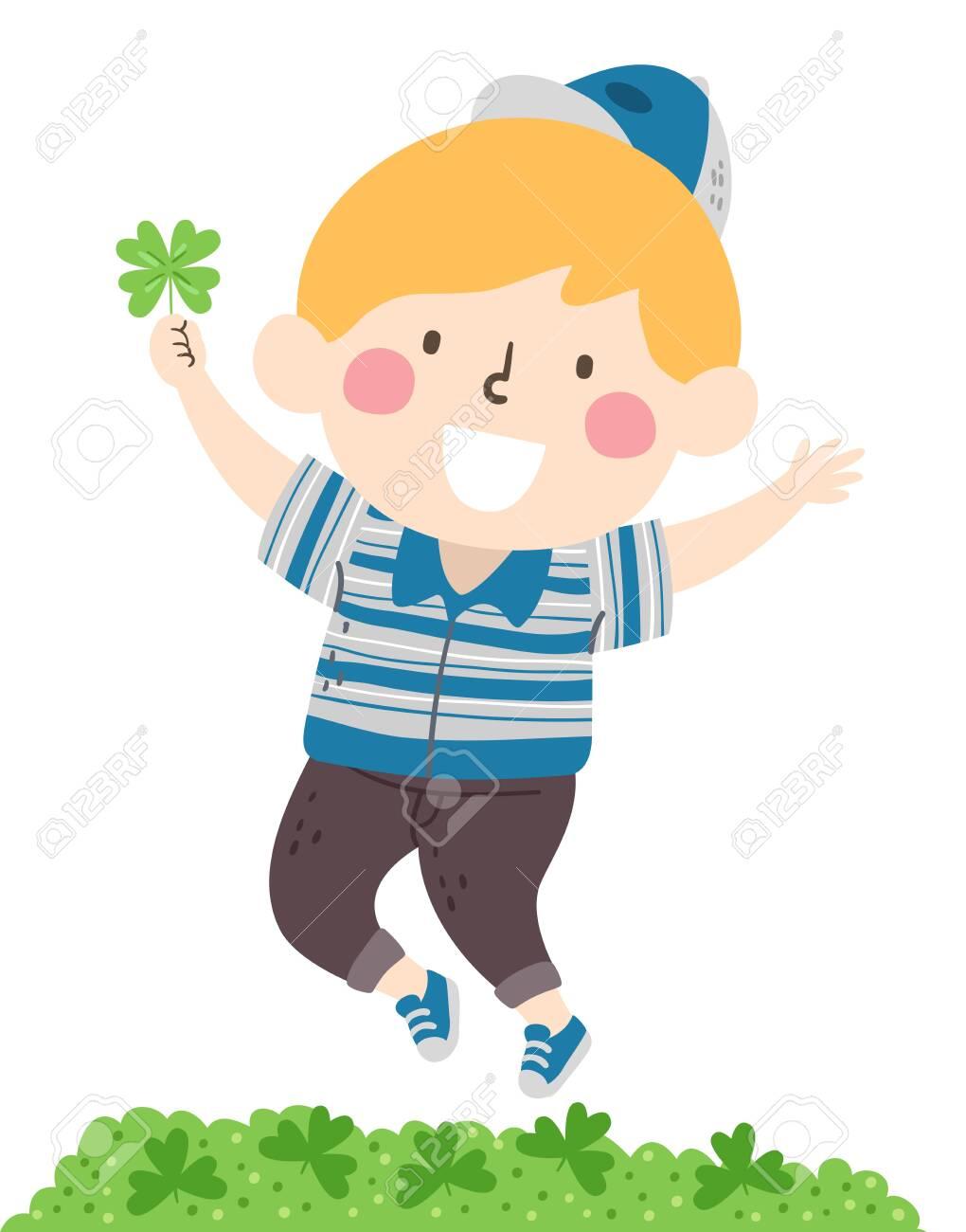 Illustration Of A Kid Boy Jumping After Finding A Four Leaf Clover Lizenzfreie Fotos Bilder Und Stock Fotografie Image 131653894