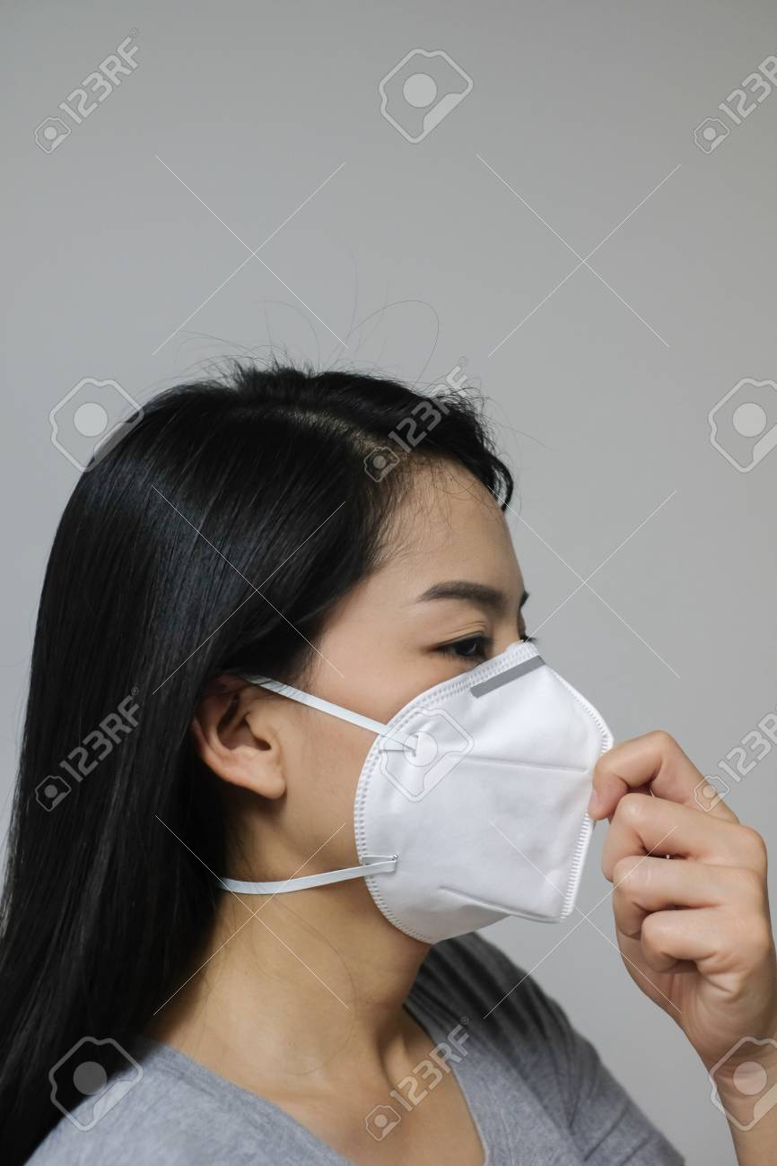 Pollution Woman Air Wearing Mask The Because In N95 Of Face