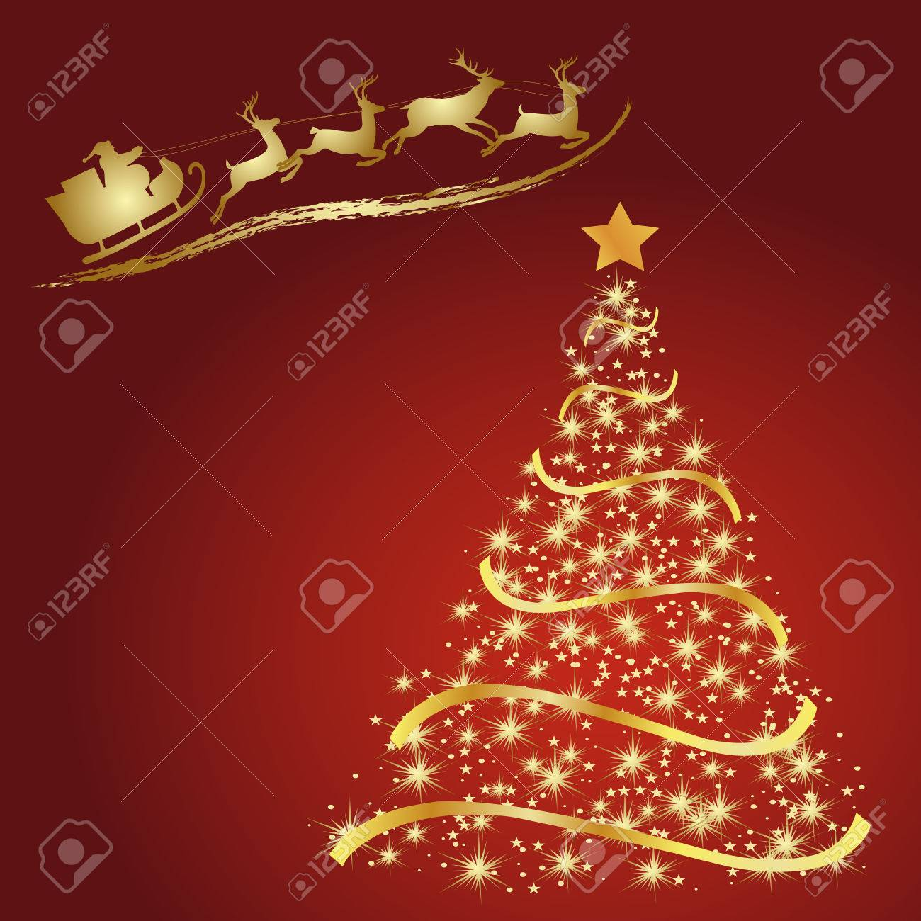Golden Fir On A Red Background Christmas Tree Vector