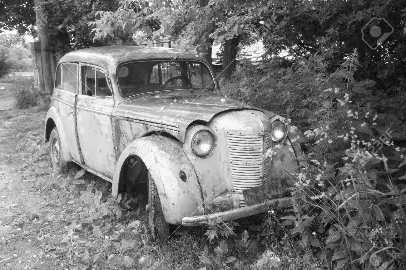 old broken car the black and white variant stock photo picture and