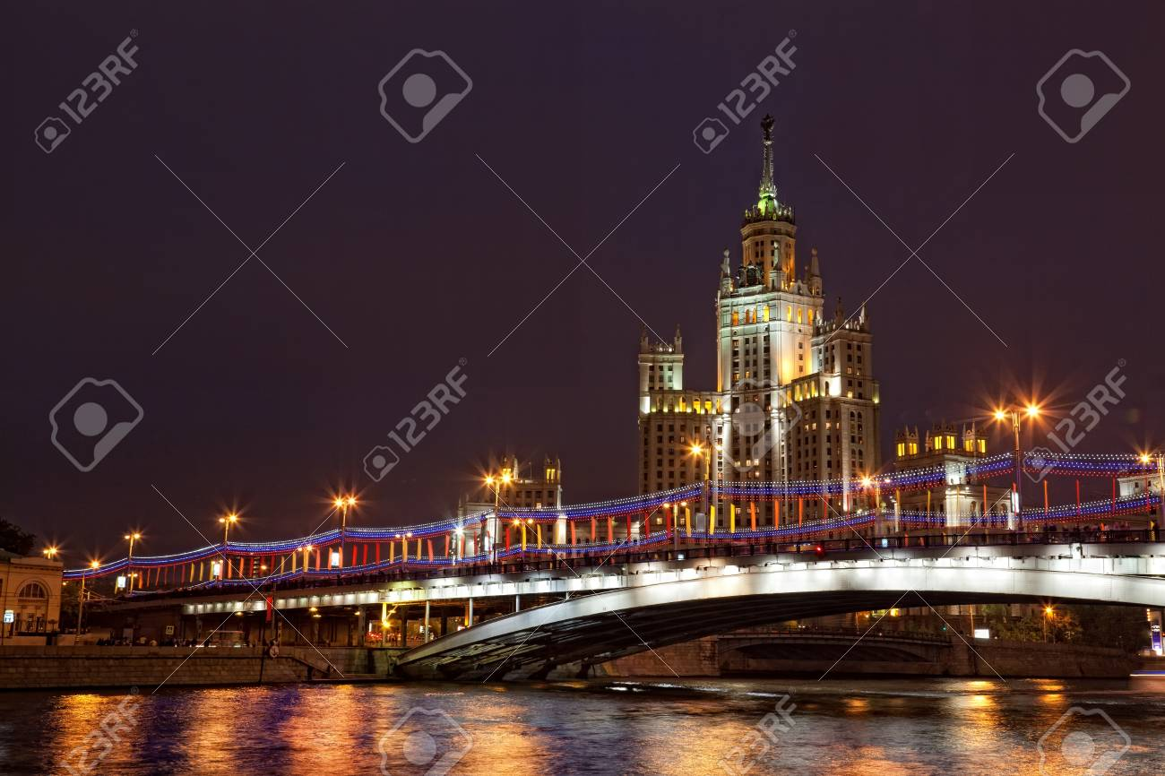 High-rise building on Kotelnicheskaya Embankment in Moscow in the night from festive illumination Stock Photo - 14264448