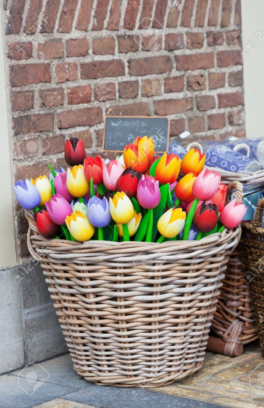 Big basket with tulips - traditional souvenirs from Holland - at shop doors Stock Photo - & Big Basket With Tulips - Traditional Souvenirs From Holland ... Pezcame.Com