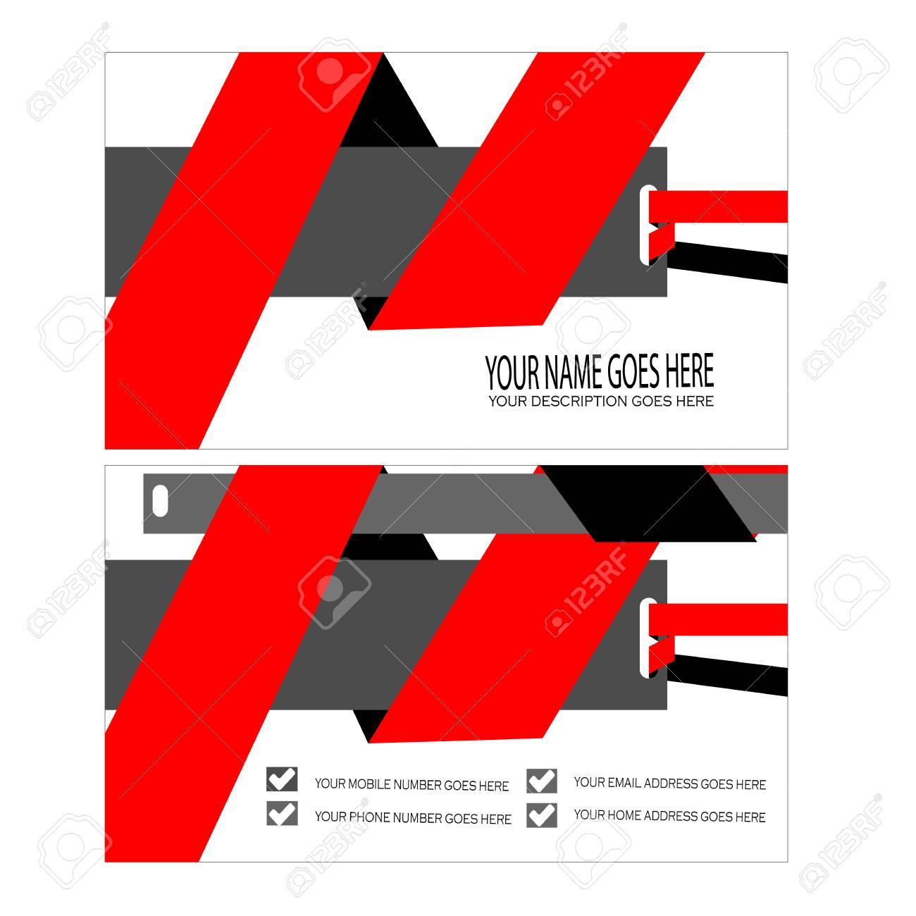 Modele De Carte Visite Rouge Cool Clip Art Libres Droits