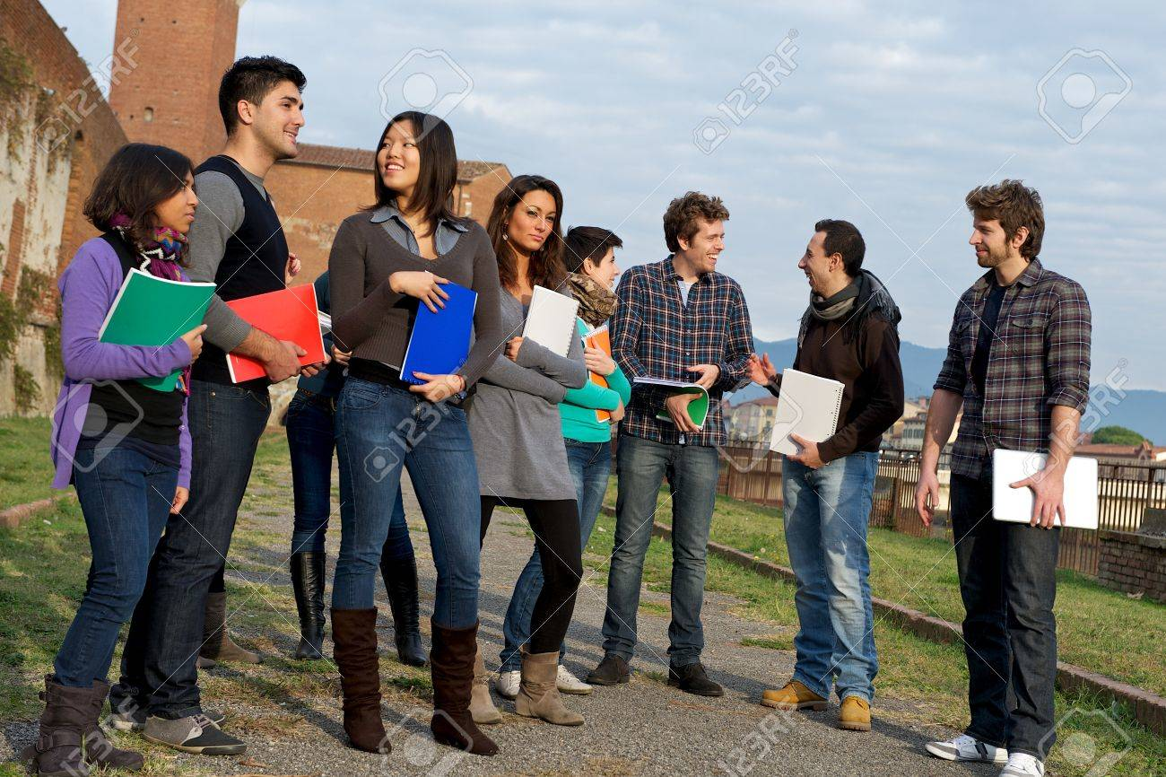 Multicultural College Students at Park,Tuscany,Italy Stock Photo - 13423741
