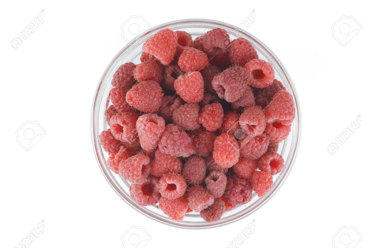 Raspberries in a glass bowl  View from the top Stock Photo - 16756145