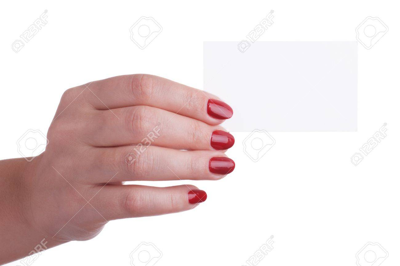 Female Hand With Red Manicure Holding A Business Card Stock Photo ...