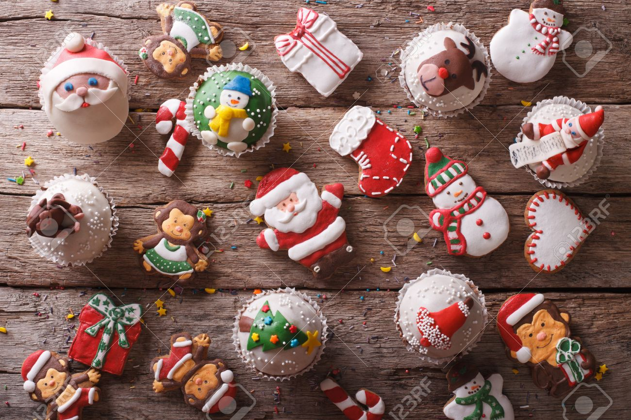 Christmas Sweets.Background Of Christmas Sweets Closeup On A Wooden Table Horizontal