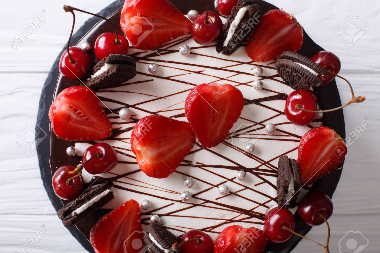 Beautiful Chocolate Cake With Strawberry And Cherry Decorated