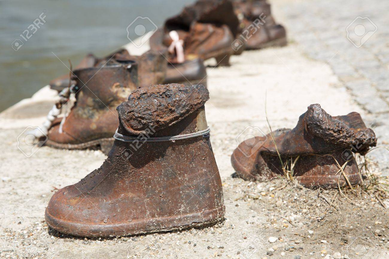 outlet store b4f40 c307b Memorial Shoes on the Danube. Children's shoes close-up. Budapest,..