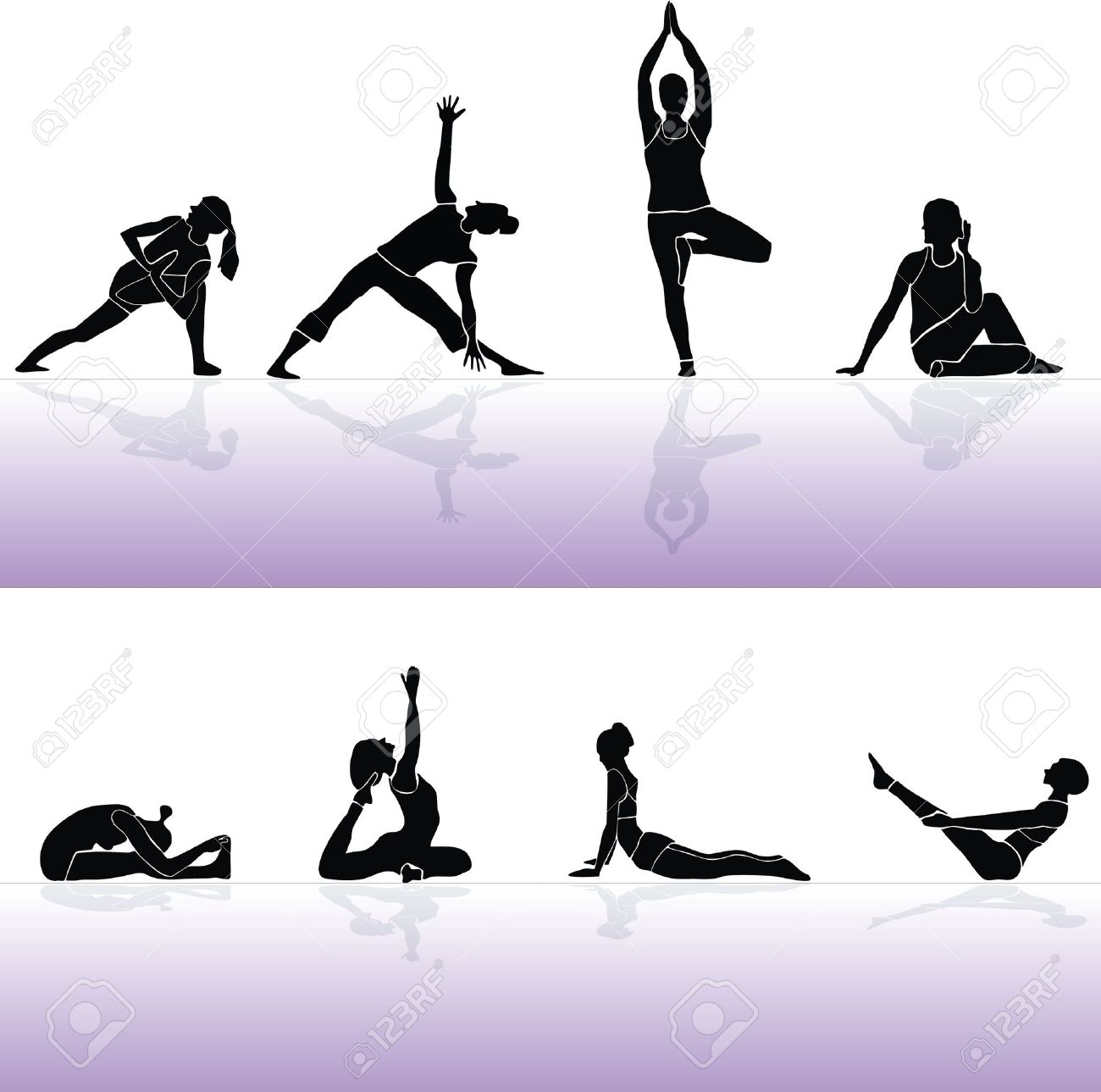 Yoga siluette vector and fitness 2 Stock Vector - 10316648