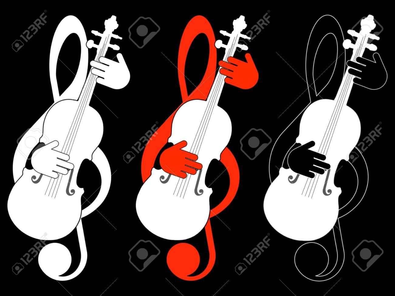 Treble clef and violin Stock Photo - 19167812