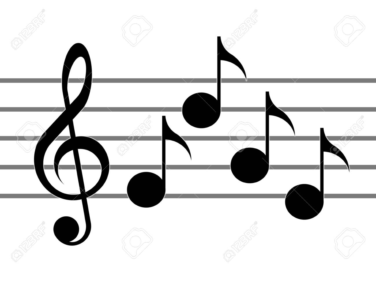 stock photo treble clef notes and staff on the white background