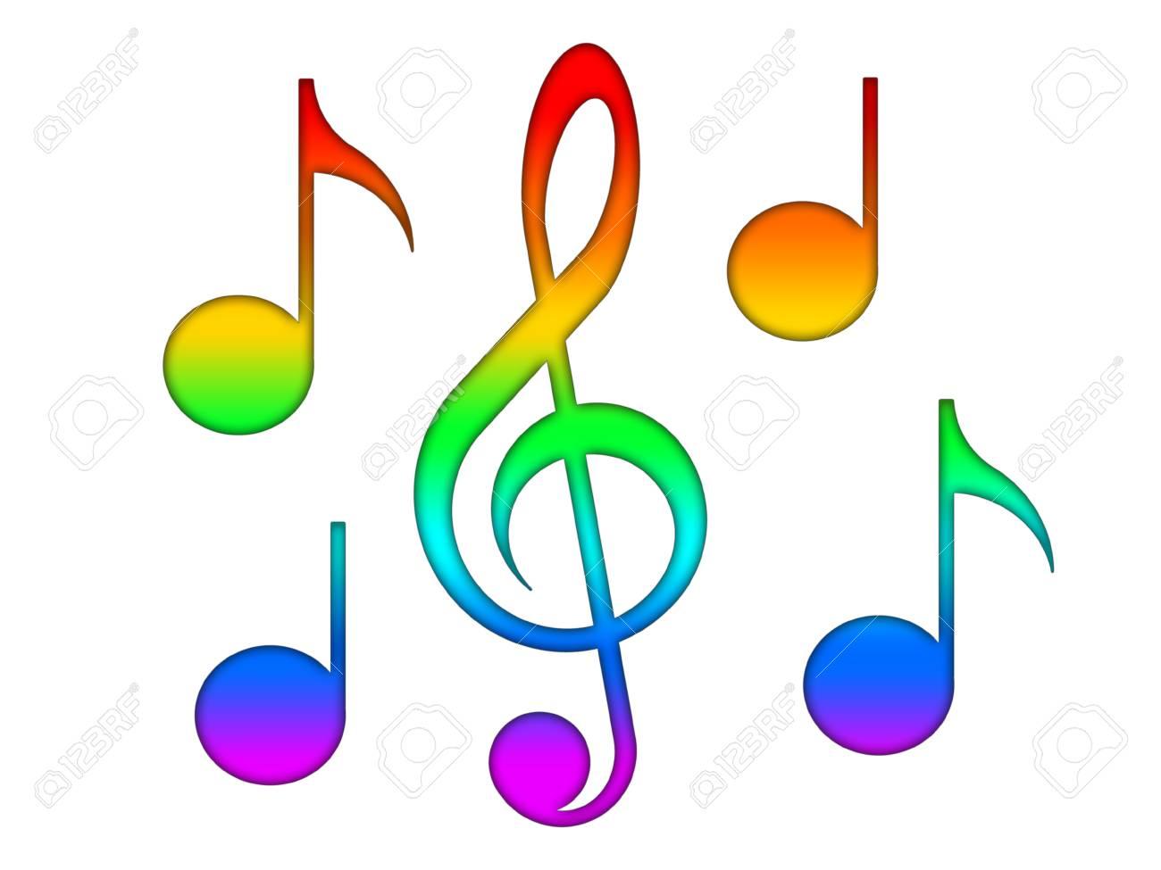 Notes multicolores et clé de sol
