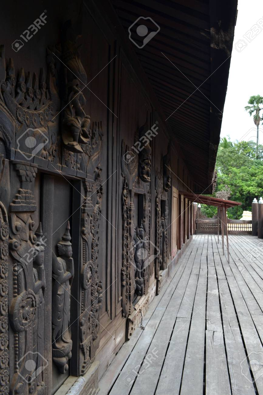 A Monastery Or Temple That Entirely Made Of Teak Wood In Mandalay