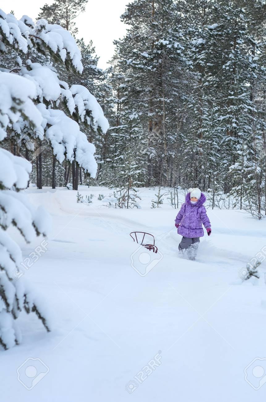 Little girl walking in winter forest Stock Photo - 17154465