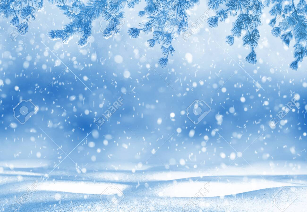 Christmas bright background. Winter Christmas background for design and greeting cards. Winter landscape. - 131896664