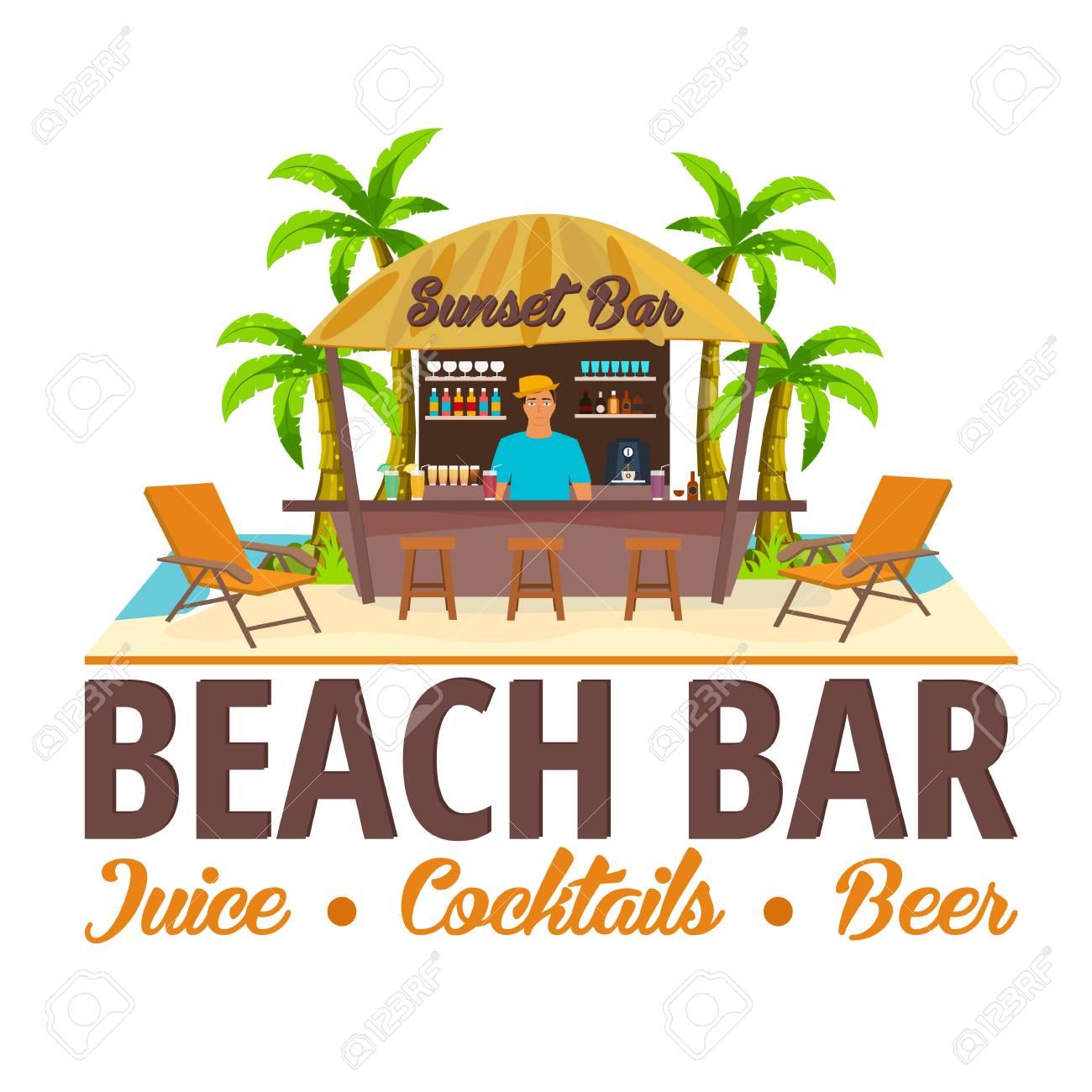 Té Bar De Plage Voyager Jus Cocktails De La Bière Chaise Longue Vector Illustration