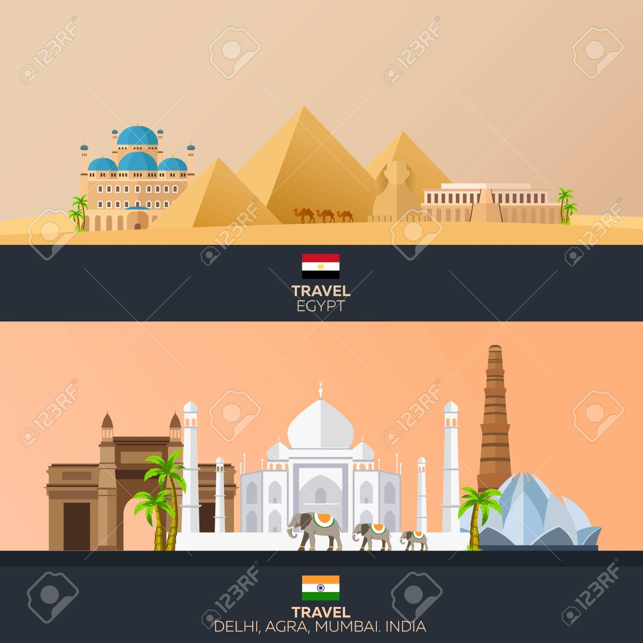 Egypt And India Tourism Travelling Illustration Modern Flat Royalty Free Cliparts Vectors And Stock Illustration Image 62836977