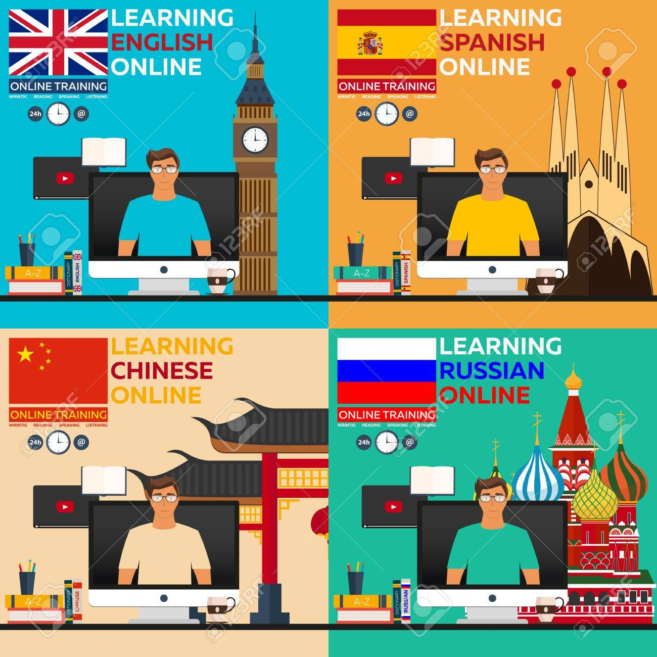 Learning language online. Russian language, english langluage.