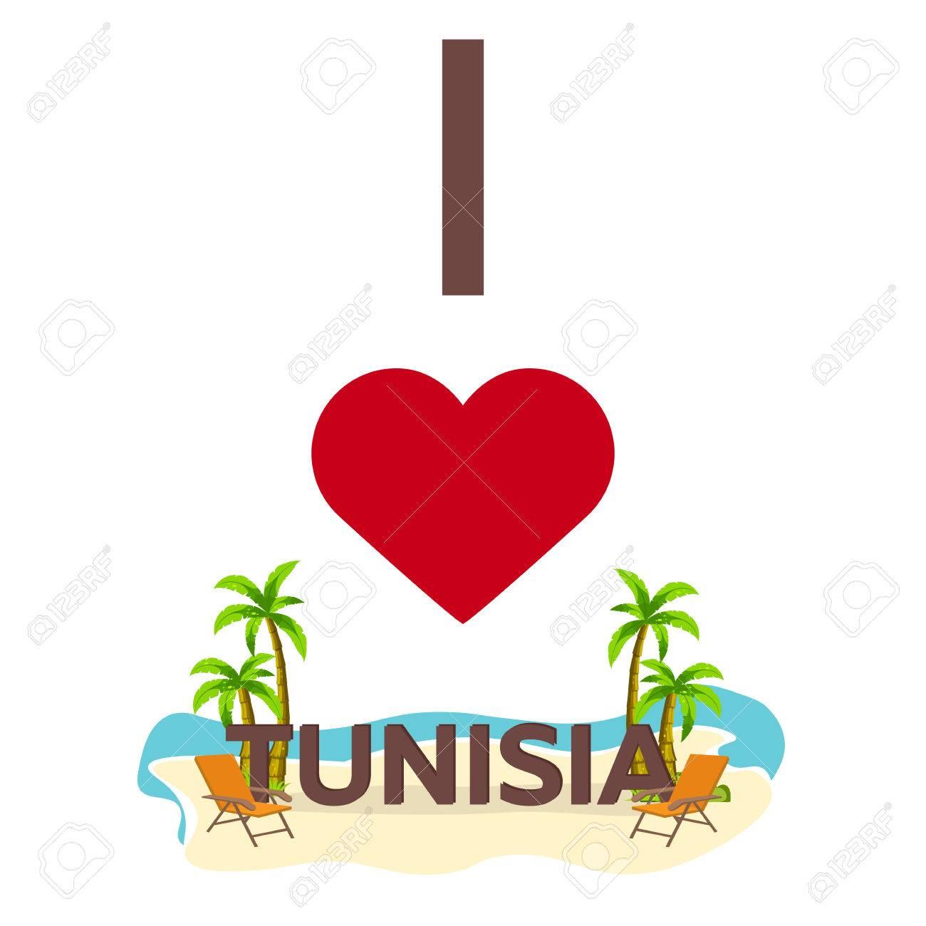 I love Tunisia. Travel. Palm, summer, lounge chair Vector flat illustration - 72668143