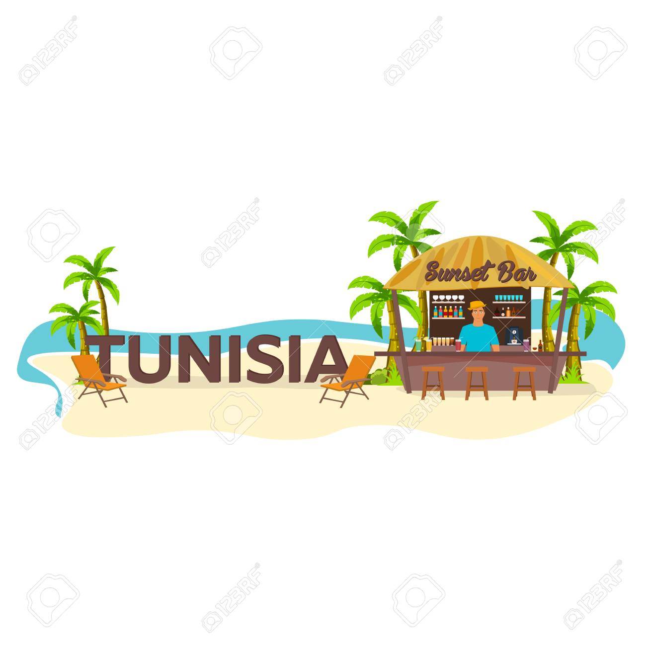Tunisia. Travel. Palm drink summer lounge chair tropical - 72670095