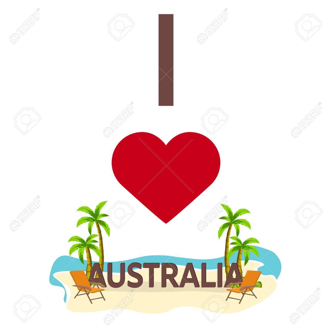 Wondrous I Love Australia Travel Palm Summer Lounge Chair Vector Flat Ibusinesslaw Wood Chair Design Ideas Ibusinesslaworg