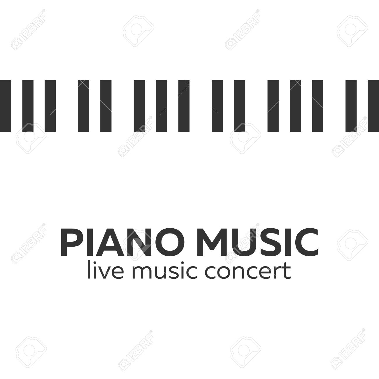 Piano Concert Poster Design Live Music Keys Vector Illustration Stock