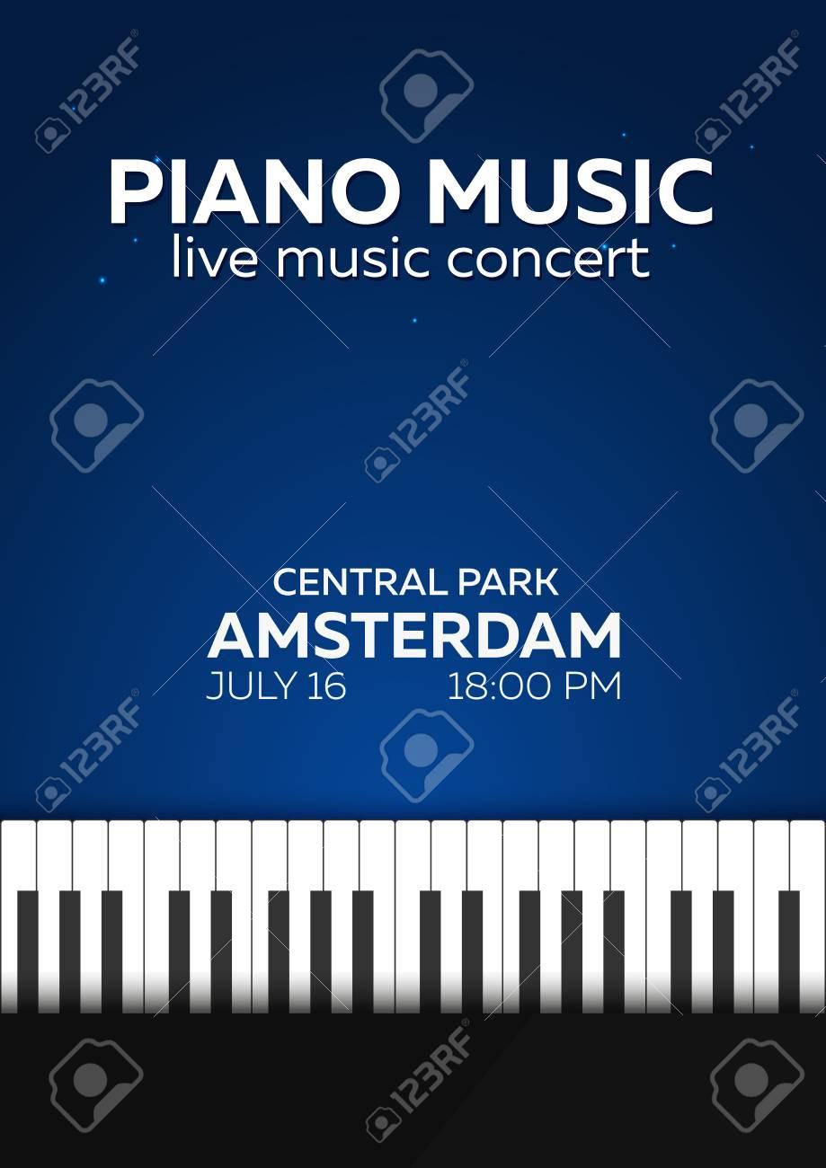 Piano Concert Poster Design Live Music Keys Vector Illustration Stock
